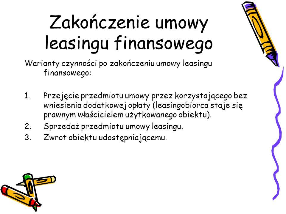 Zakończenie umowy leasingu finansowego