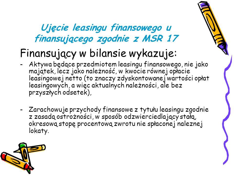 Ujęcie leasingu finansowego u finansującego zgodnie z MSR 17