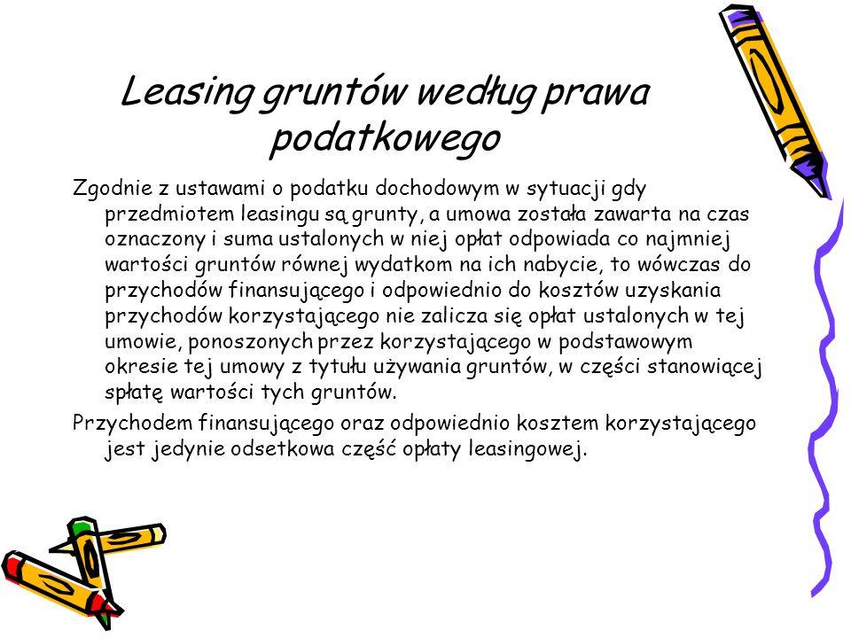 Leasing gruntów według prawa podatkowego