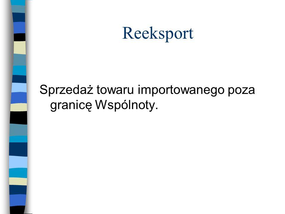 Reeksport Sprzedaż towaru importowanego poza granicę Wspólnoty.