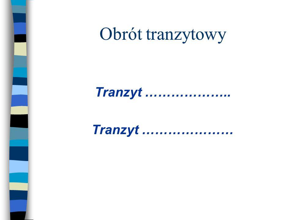 Obrót tranzytowy Tranzyt ……………….. Tranzyt …………………