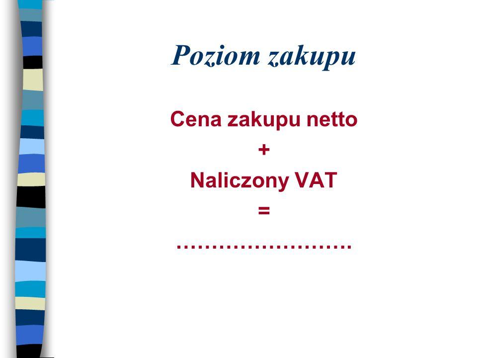 Poziom zakupu Cena zakupu netto + Naliczony VAT = …………………….