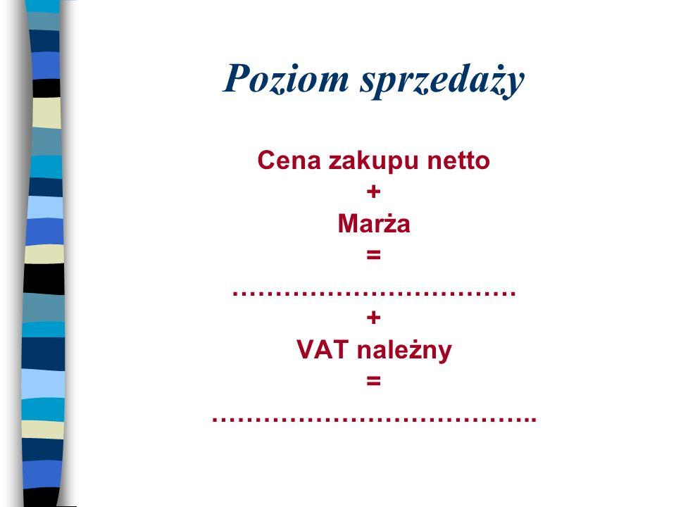 Poziom sprzedaży Cena zakupu netto + Marża = …………………………… VAT należny