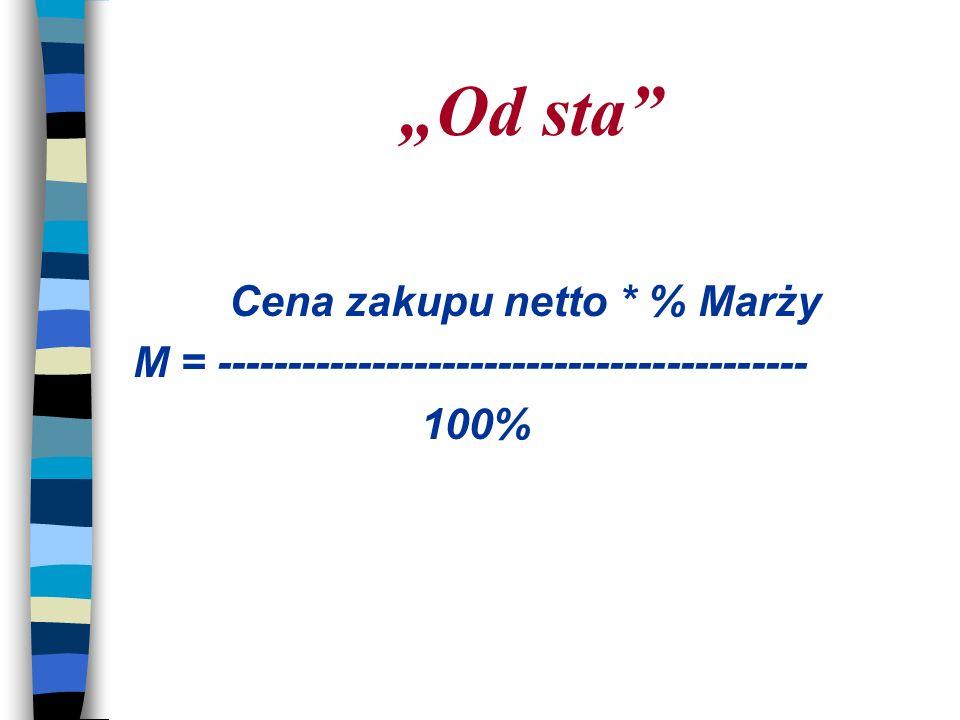 """""""Od sta Cena zakupu netto * % Marży"""