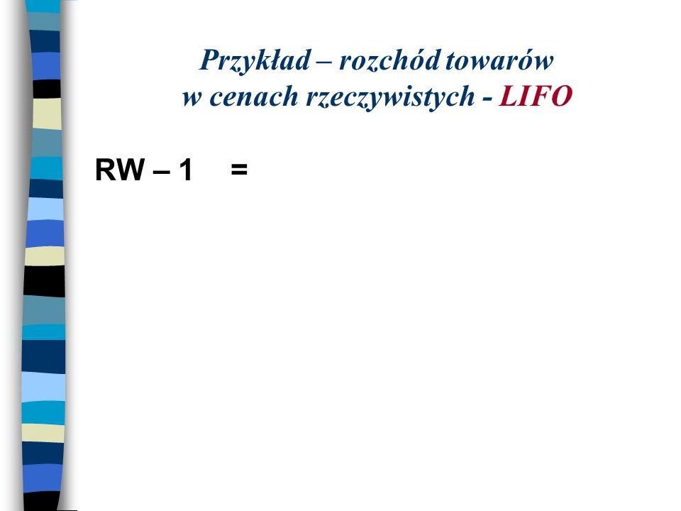 Przykład – rozchód towarów w cenach rzeczywistych - LIFO