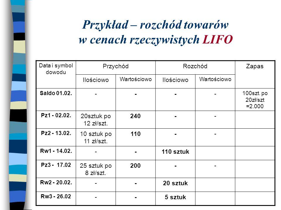 Przykład – rozchód towarów w cenach rzeczywistych LIFO