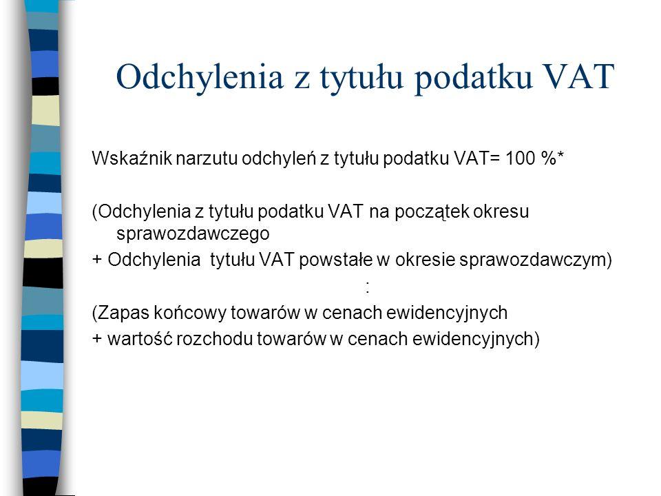 Odchylenia z tytułu podatku VAT