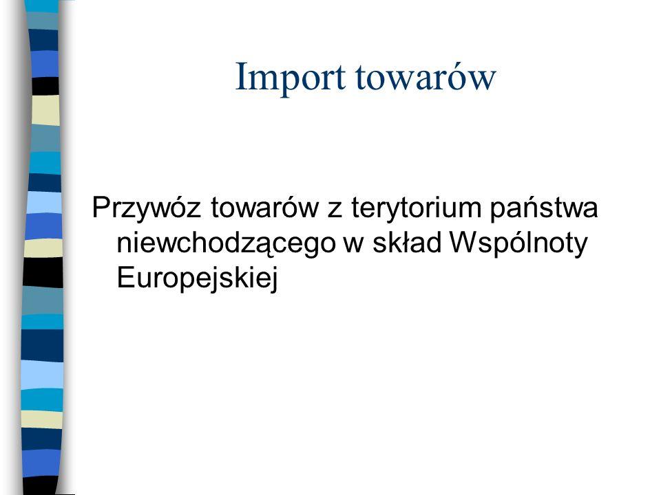 Import towarów Przywóz towarów z terytorium państwa niewchodzącego w skład Wspólnoty Europejskiej