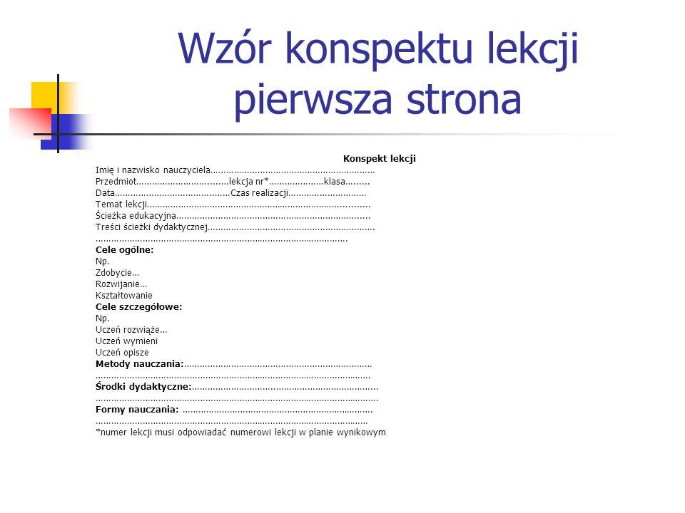 Wzór konspektu lekcji pierwsza strona