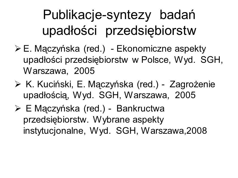 Publikacje-syntezy badań upadłości przedsiębiorstw