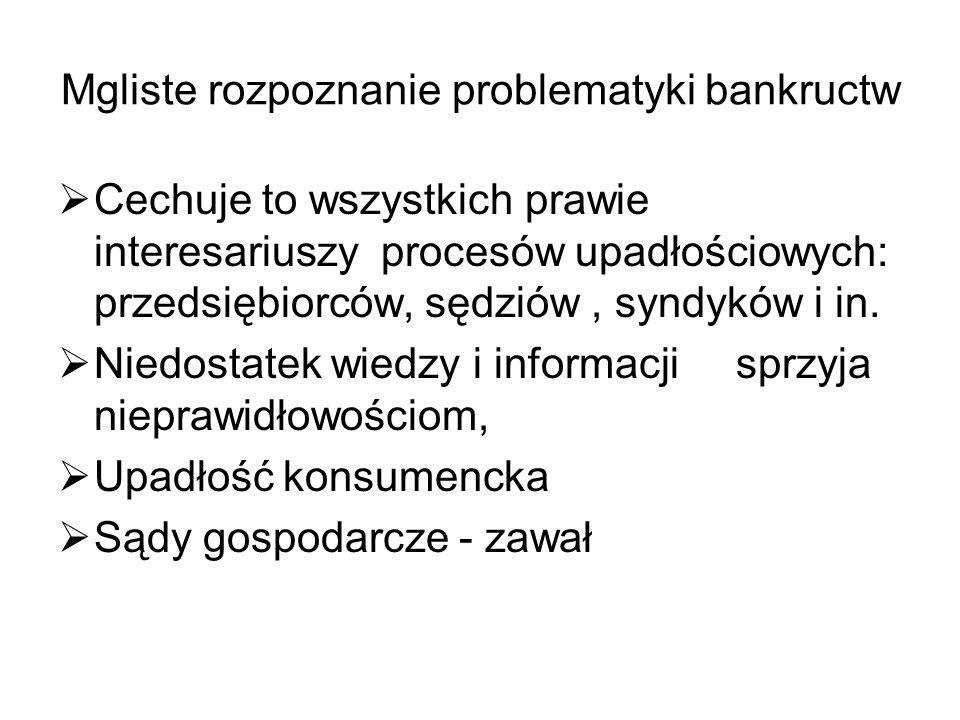 Mgliste rozpoznanie problematyki bankructw