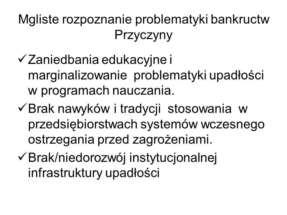 Mgliste rozpoznanie problematyki bankructw Przyczyny