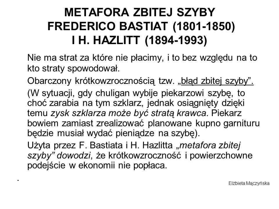 METAFORA ZBITEJ SZYBY FREDERICO BASTIAT (1801-1850) I H