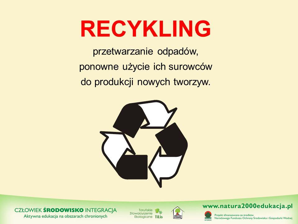 RECYKLING przetwarzanie odpadów, ponowne użycie ich surowców