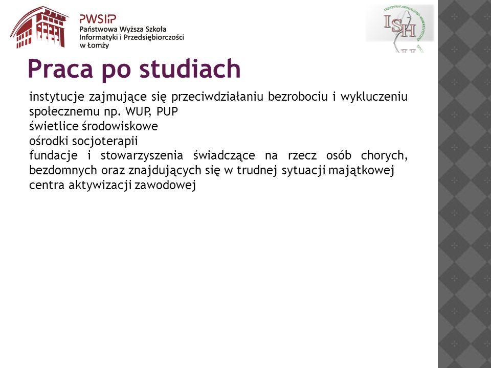 Praca po studiach instytucje zajmujące się przeciwdziałaniu bezrobociu i wykluczeniu społecznemu np. WUP, PUP.
