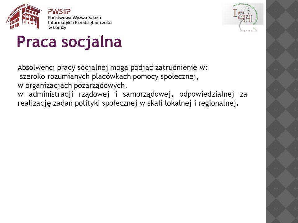 Praca socjalna Absolwenci pracy socjalnej mogą podjąć zatrudnienie w: