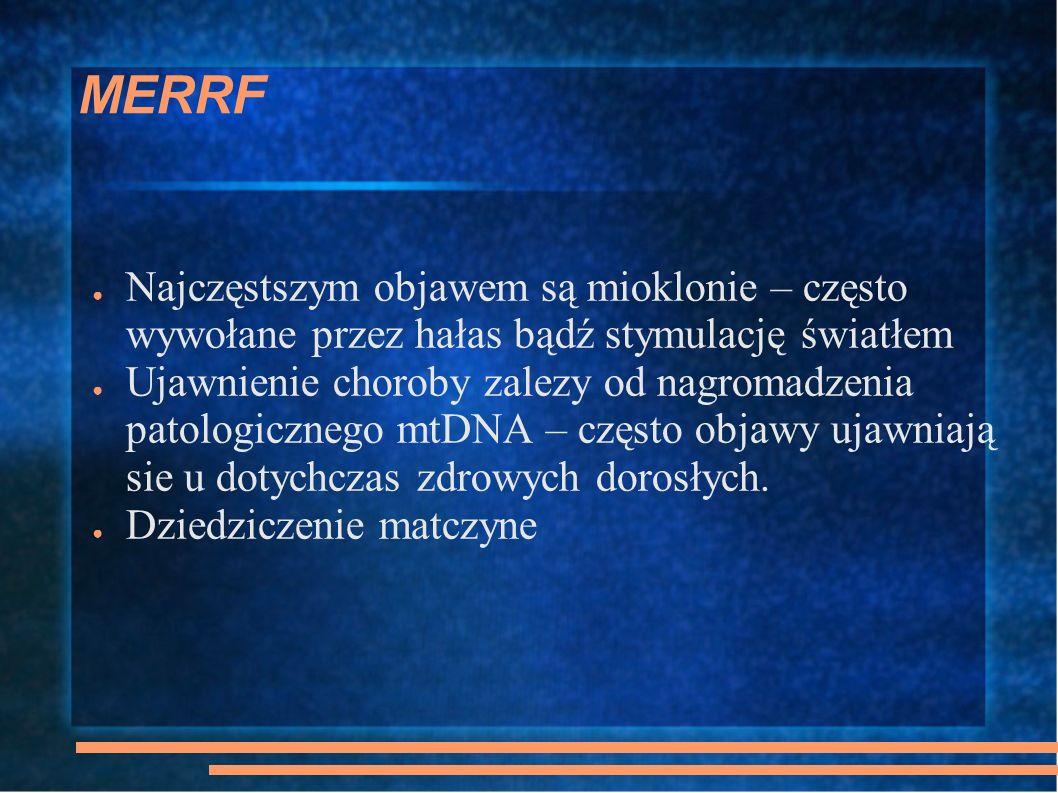 MERRF Najczęstszym objawem są mioklonie – często wywołane przez hałas bądź stymulację światłem.