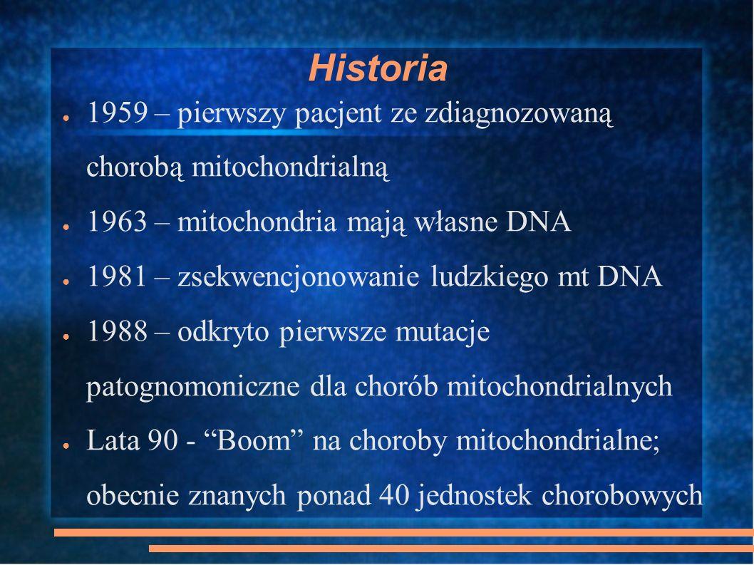 Historia 1959 – pierwszy pacjent ze zdiagnozowaną chorobą mitochondrialną. 1963 – mitochondria mają własne DNA.