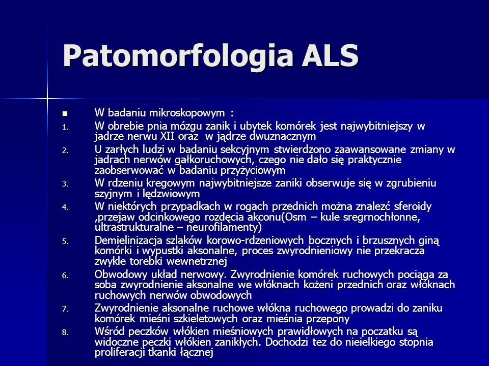 Patomorfologia ALS W badaniu mikroskopowym :