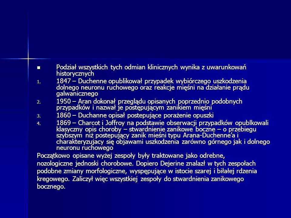 Podział wszystkich tych odmian klinicznych wynika z uwarunkowań historycznych