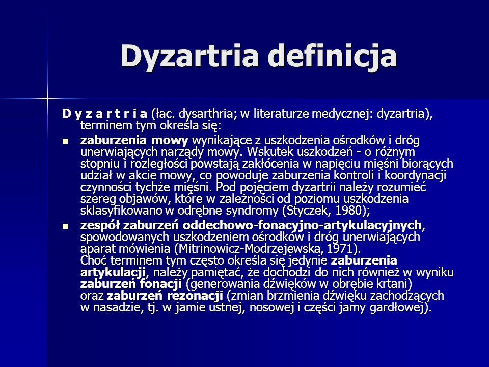 Dyzartria definicja D y z a r t r i a (łac. dysarthria; w literaturze medycznej: dyzartria), terminem tym określa się: