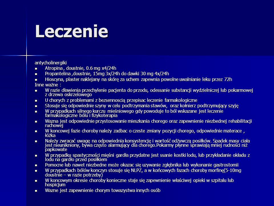 Leczenie antycholinergiki Atropina , doustnie, 0.6 mg x4/24h