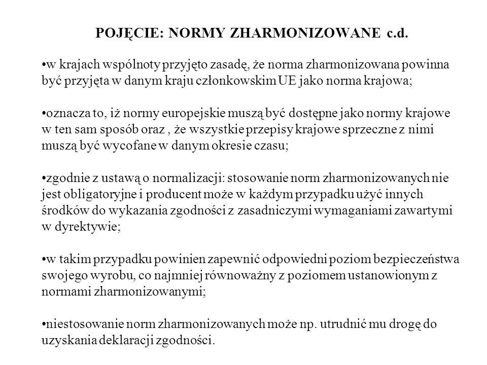 POJĘCIE: NORMY ZHARMONIZOWANE c.d.