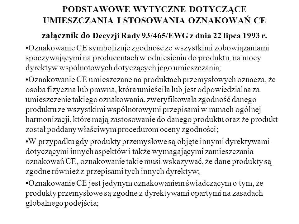 PODSTAWOWE WYTYCZNE DOTYCZĄCE UMIESZCZANIA I STOSOWANIA OZNAKOWAŃ CE załącznik do Decyzji Rady 93/465/EWG z dnia 22 lipca 1993 r.