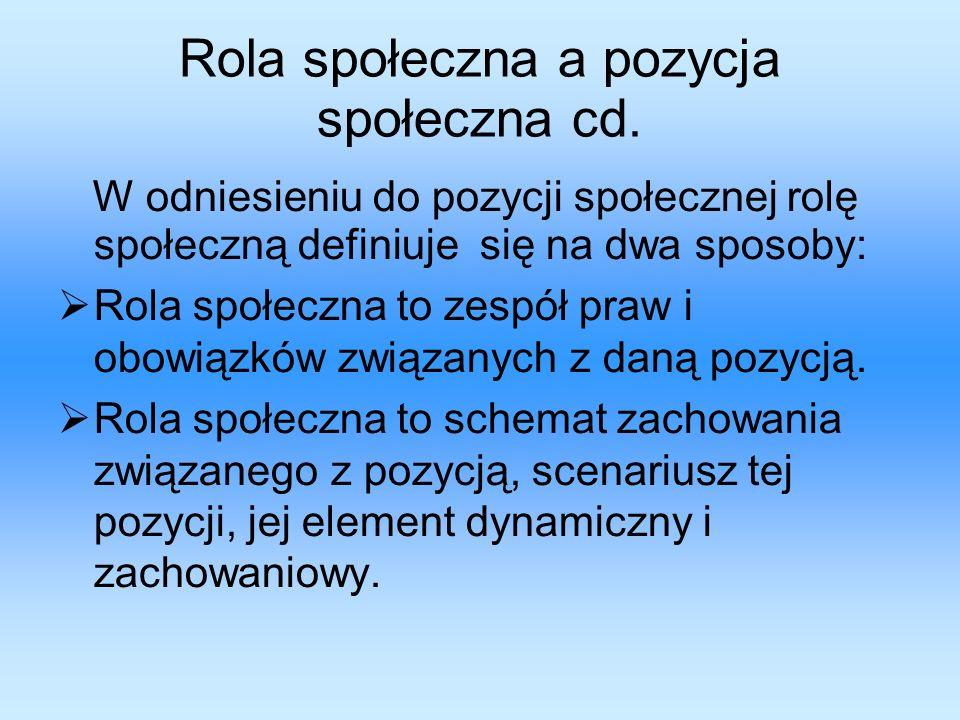 Rola społeczna a pozycja społeczna cd.
