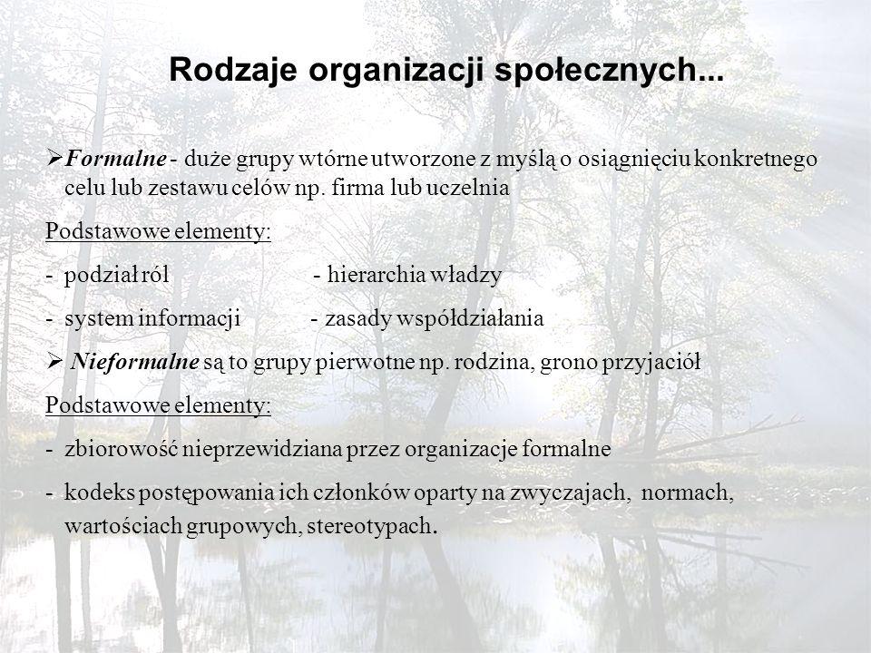 Rodzaje organizacji społecznych...