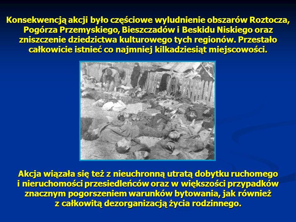 Konsekwencją akcji było częściowe wyludnienie obszarów Roztocza, Pogórza Przemyskiego, Bieszczadów i Beskidu Niskiego oraz zniszczenie dziedzictwa kulturowego tych regionów. Przestało całkowicie istnieć co najmniej kilkadziesiąt miejscowości.
