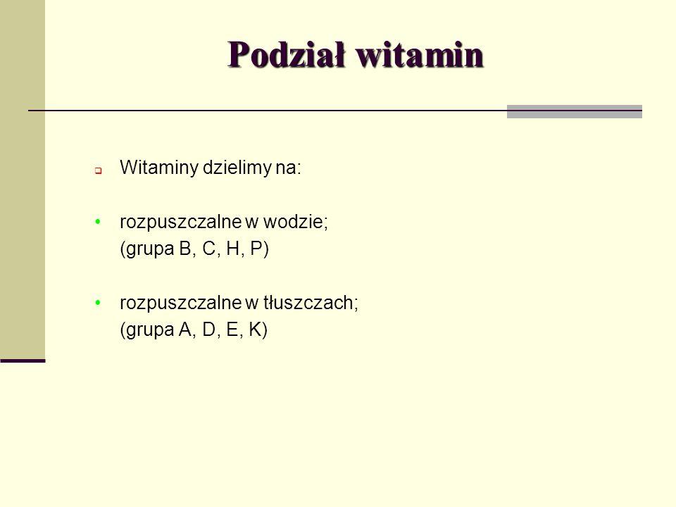Podział witamin Witaminy dzielimy na: rozpuszczalne w wodzie;