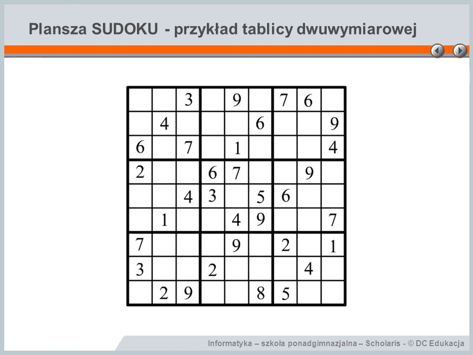 Plansza SUDOKU - przykład tablicy dwuwymiarowej