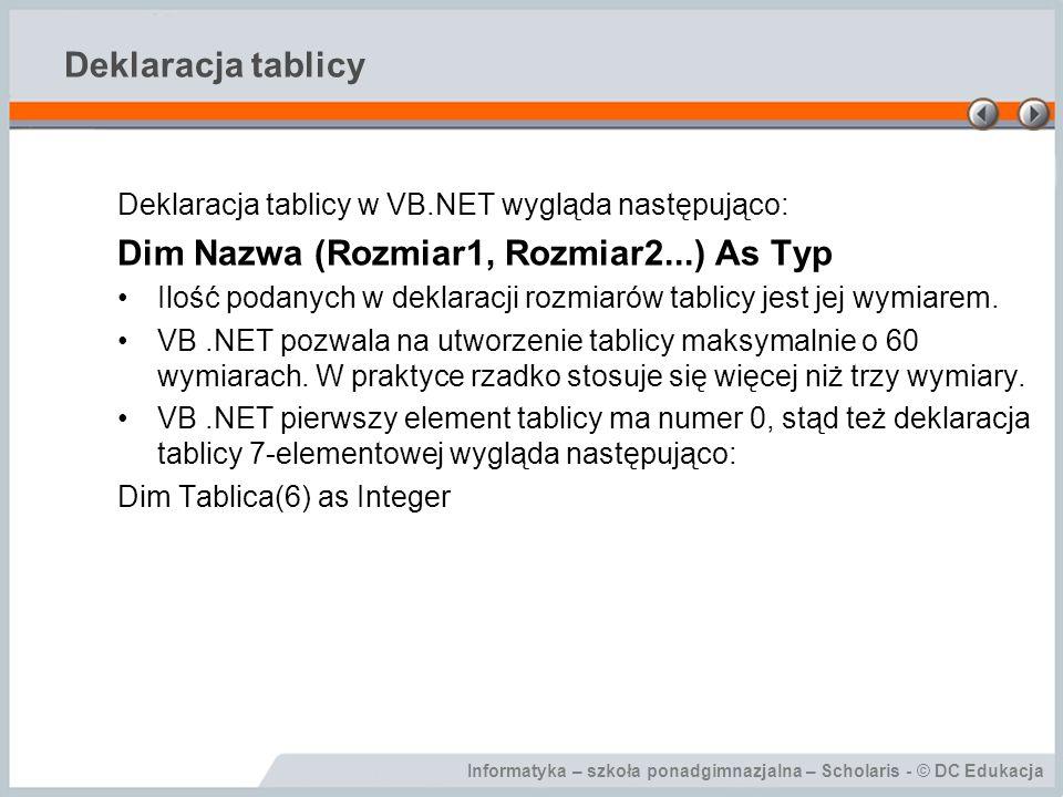 Dim Nazwa (Rozmiar1, Rozmiar2...) As Typ