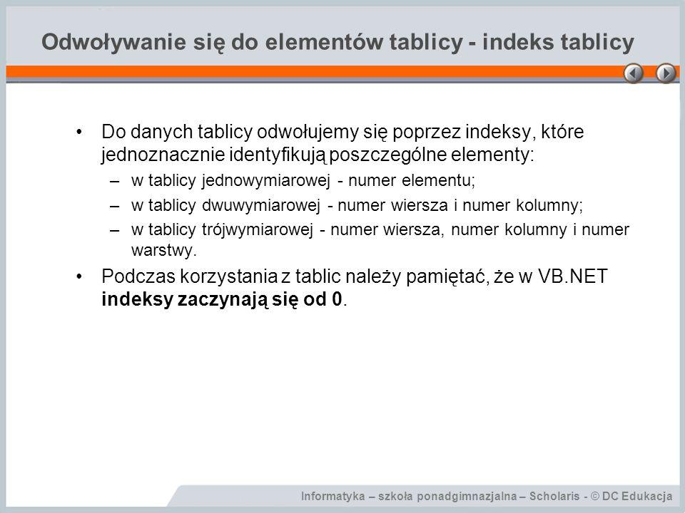 Odwoływanie się do elementów tablicy - indeks tablicy