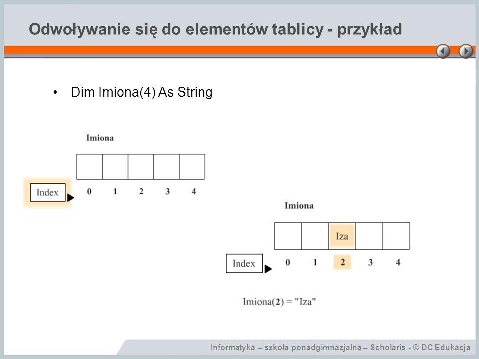 Odwoływanie się do elementów tablicy - przykład