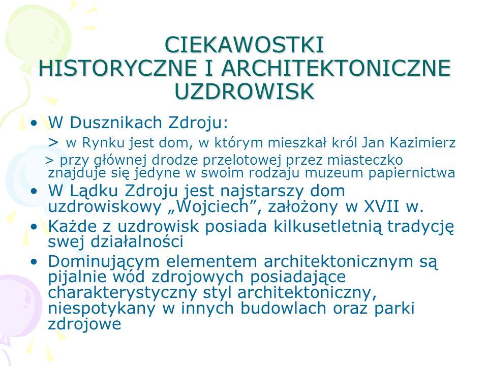 CIEKAWOSTKI HISTORYCZNE I ARCHITEKTONICZNE UZDROWISK