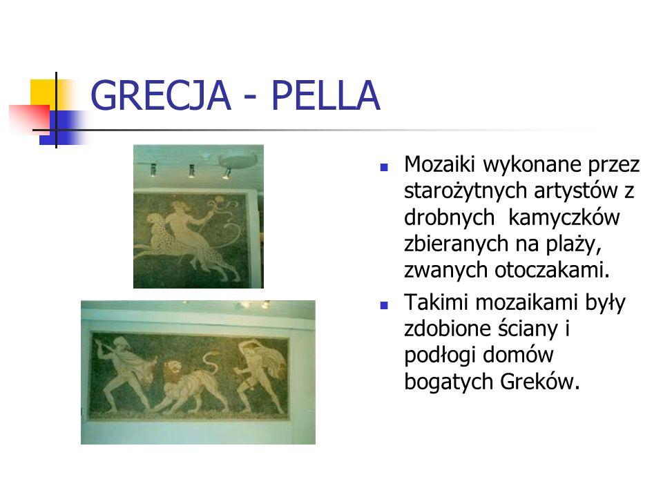 GRECJA - PELLA Mozaiki wykonane przez starożytnych artystów z drobnych kamyczków zbieranych na plaży, zwanych otoczakami.