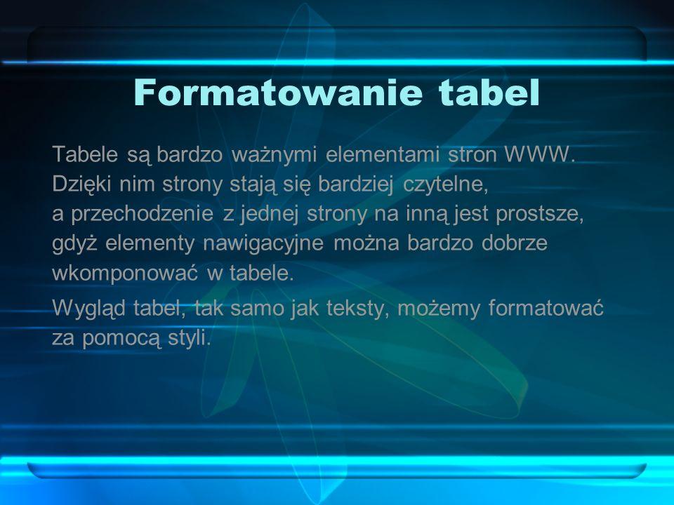 Formatowanie tabel