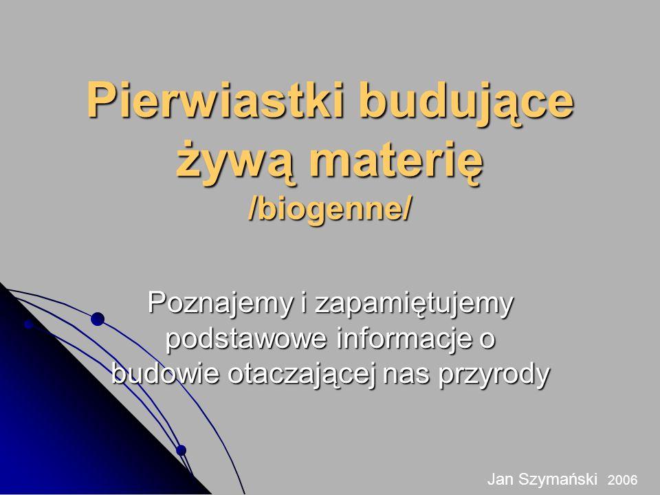 Pierwiastki budujące żywą materię /biogenne/