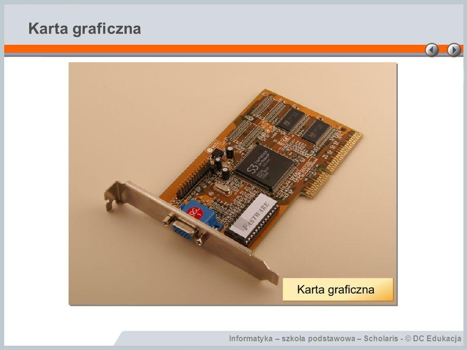Karta graficzna Dzięki karcie graficznej, na ekranie monitora widzimy efekt pracy komputera.