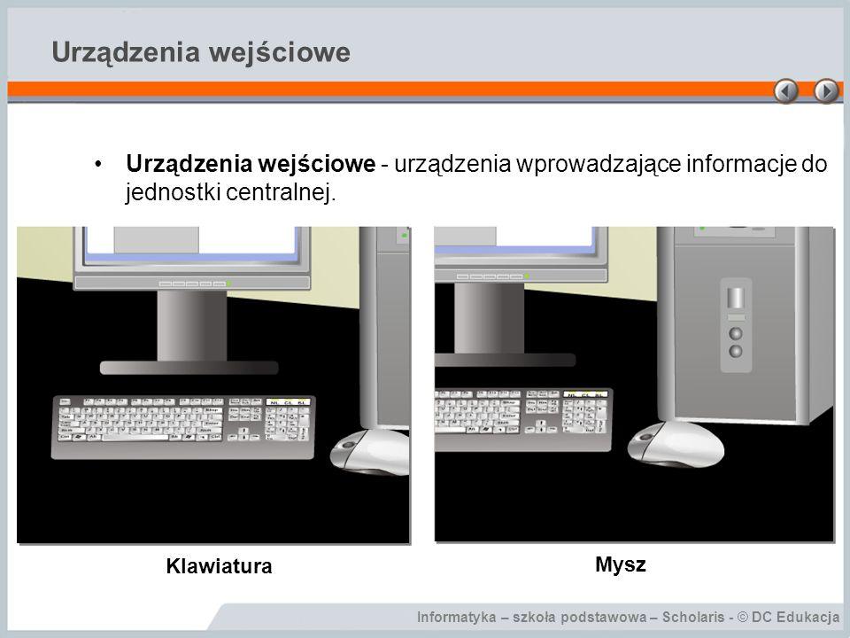 Urządzenia wejściowe Urządzenia wejściowe - urządzenia wprowadzające informacje do jednostki centralnej.