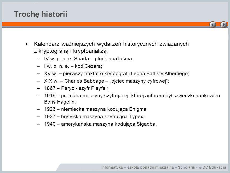 Trochę historii Kalendarz ważniejszych wydarzeń historycznych związanych z kryptografią i kryptoanalizą: