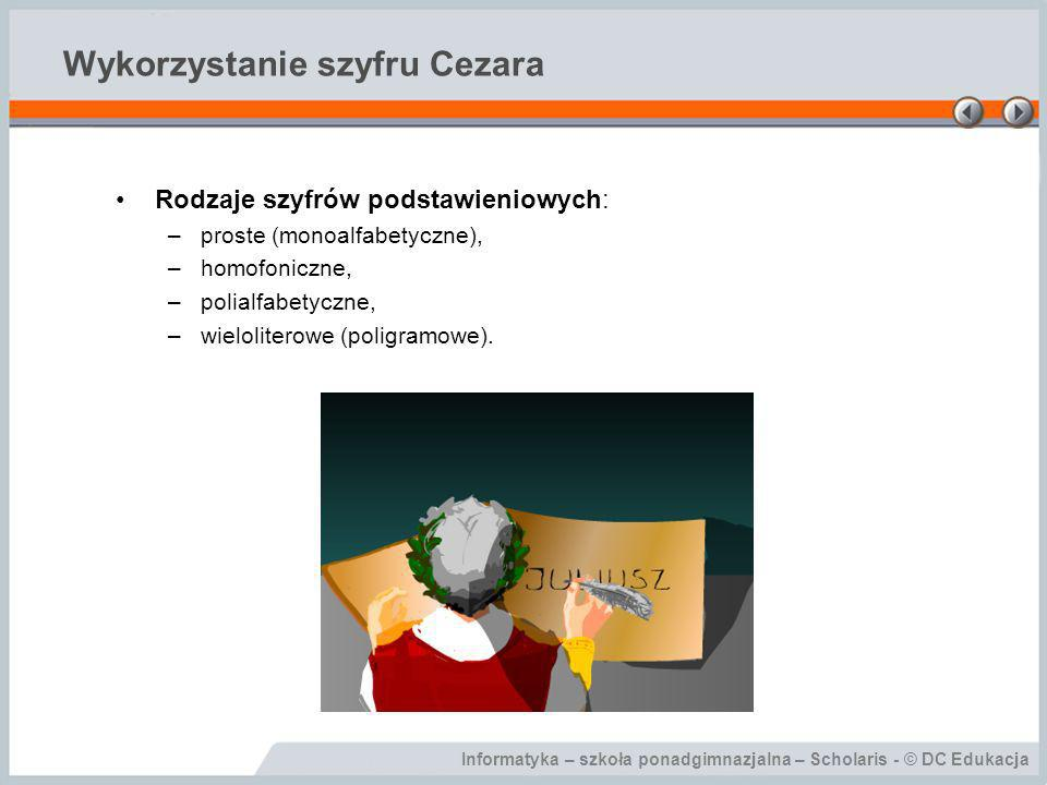 Wykorzystanie szyfru Cezara