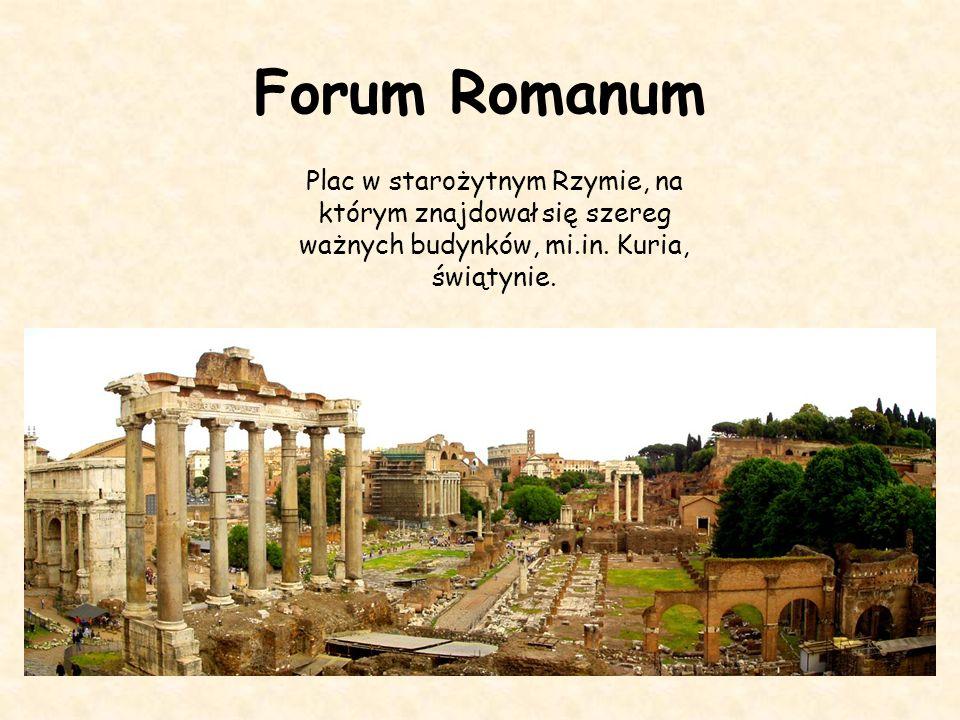 Forum Romanum Plac w starożytnym Rzymie, na którym znajdował się szereg ważnych budynków, mi.in.
