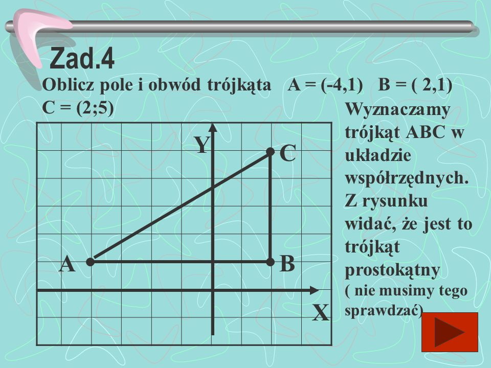 Zad.4 Oblicz pole i obwód trójkąta A = (-4,1) B = ( 2,1) C = (2;5)