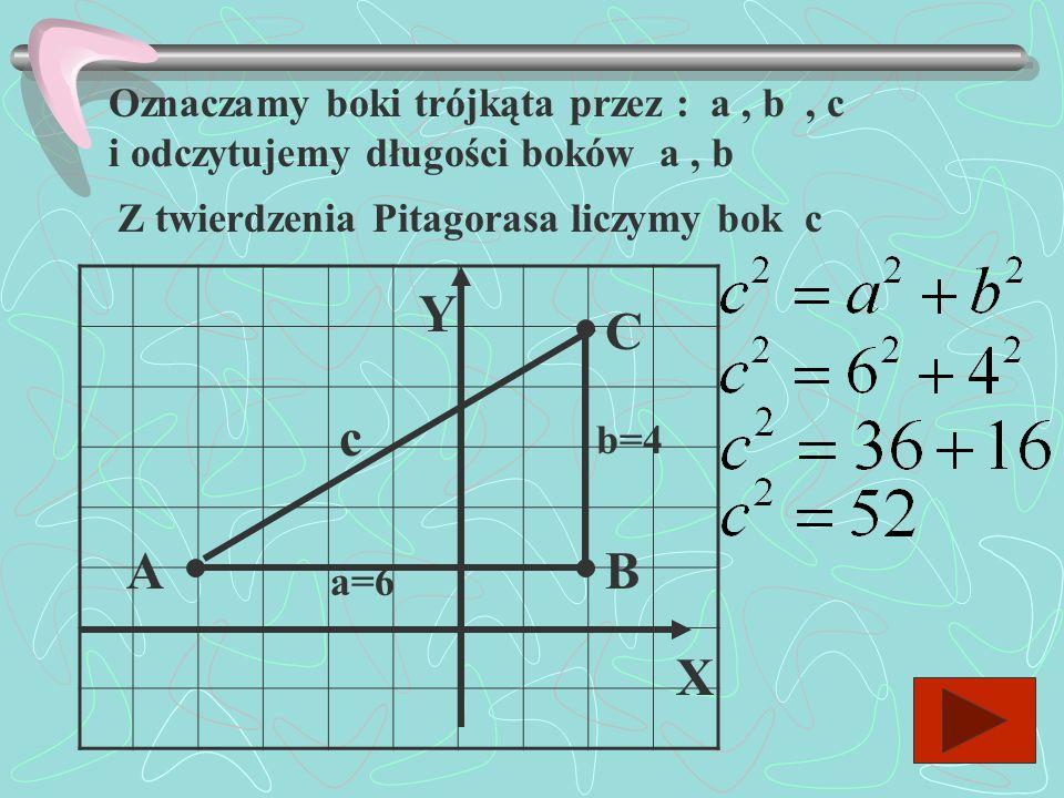 Oznaczamy boki trójkąta przez : a , b , c i odczytujemy długości boków a , b