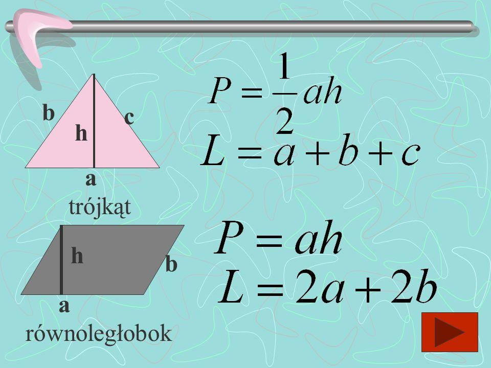 b c h a trójkąt h b a równoległobok
