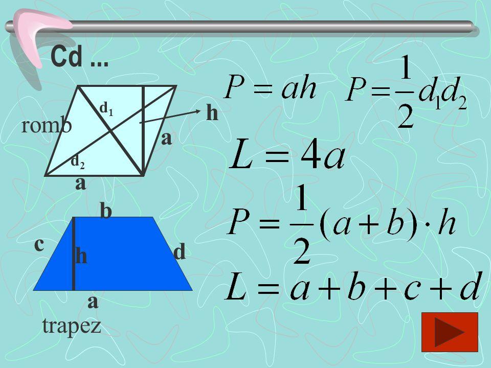 Cd ... d1 h romb a d2 a b c d h a trapez