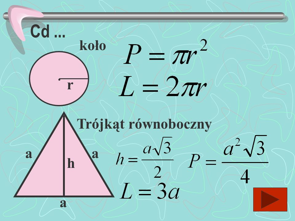 Cd ... koło . r Trójkąt równoboczny a a h a